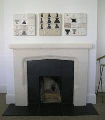 Arts and Crafts fireplace with Bluestone reveals and hearth