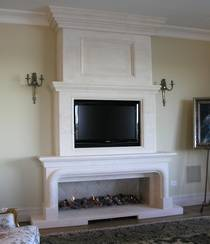 Louis XIV style fire surround with 2 step Tumeau Overmantle