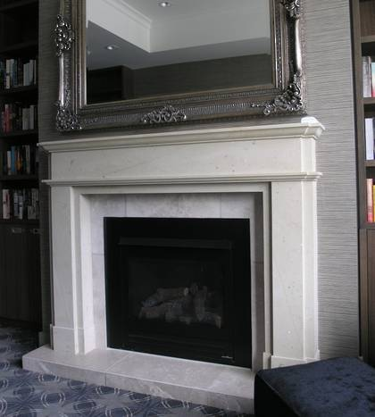 Classical Victorian upright fireplace carved in Hinuera Stone