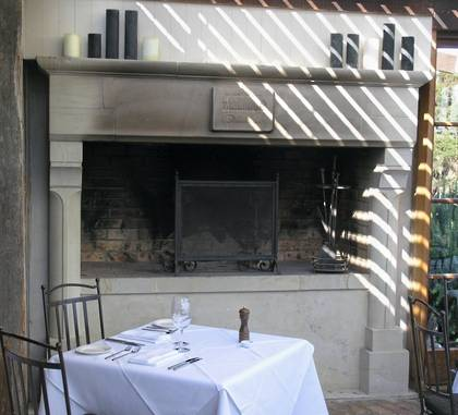 Large French 'Gothique' fireplace, carved in Hinuera stone Commissioned by 'The Mudbrick' restaurant Waiheke Island