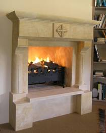 French 'Gothique' fireplace mantle with carved detail, carved in Oamaru Limestone with aged patina