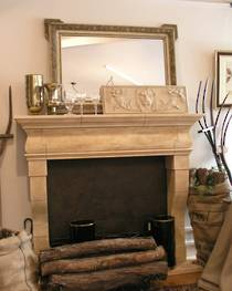 17th Century French fireplace design carved in Oamaru Limestone with aged patina